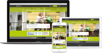 Desktop, tablet and smartphone version of the online platform nebenan.de; copyright: nebenan.de