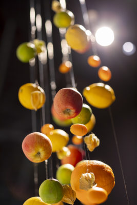 Image: Fruits hanging from the ceiling; Copyright: Messe Düsseldorf