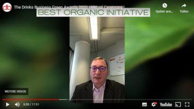 Mann im YouTube-Video; Copyright: Screenshot/The Drinks Business Green Awards
