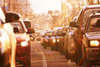 Traffic jam, cars stand on street