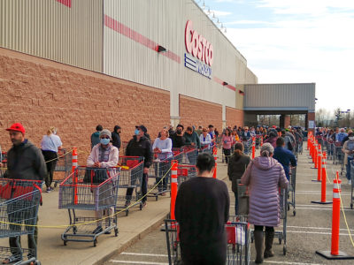 Line up at Costco during Covid-19; copyright: