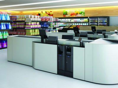 Modern, digitally created checkout zone