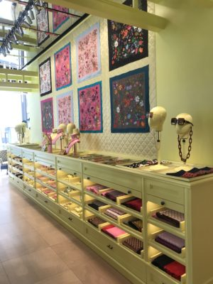 A modern boutique with goods in a sideboard