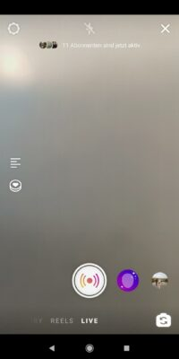 Screenshot der Livestream-Funktion; copyright: Instagram Screenshot