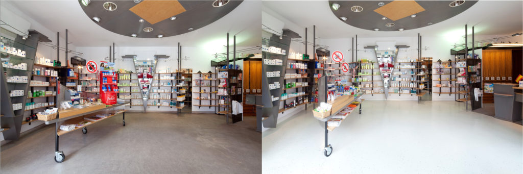 Comparative pictures of a pharmacy with different floors; copyright: Dr. Schutz GmbH