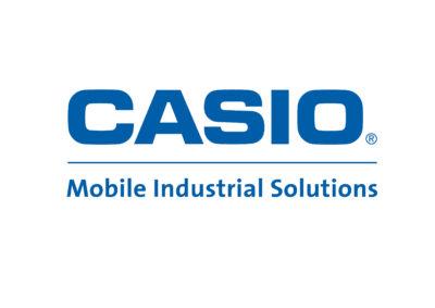Logo of Casio, blue on white background
