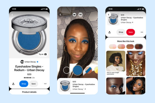 Three screenshots from the Pinterest app