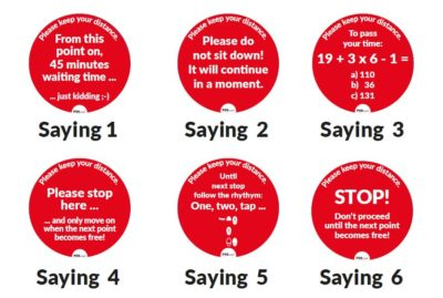 Different circular red stickers with sayings; copyright: POS Tuning