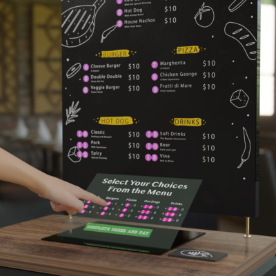 A holographically projected restaurant menu