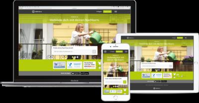 Desktop-, Tablet- und Smartphone-Ansicht der Online-Plattform nebenan.de; copyright: nebenan.de