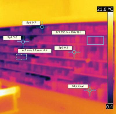 Kühlregal im Supermarkt als Wärmebild; copyright: Dr. Steinmaßl Managementberatung