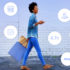 Woman walking with smartphone plus technology icons; copyright: Business Wire