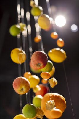 Bild: Früchte hängen von der Decke; Copyright: Messe Düsseldorf