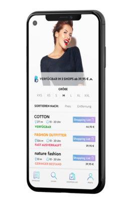 Ein Mockup einer modesuchapp auf einem Smartphone