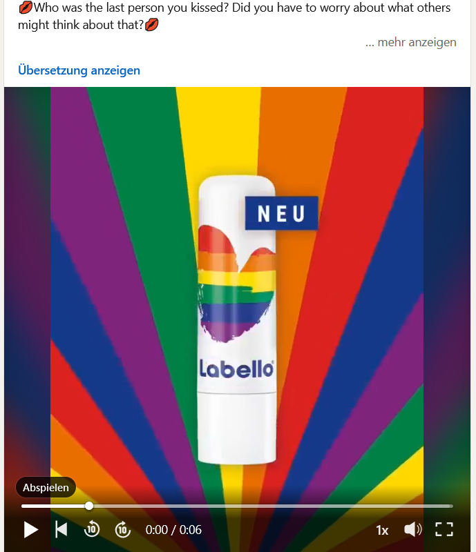 A LinkedIn post from Beiersdorf about a Labello collection for Pride Month in rainbow colors.
