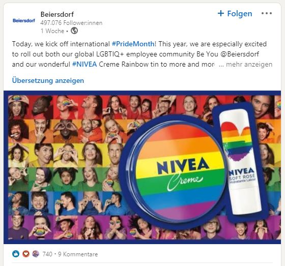 A LinkedIn post from Beiersdorf about a Nivea can collection for Pride Month in rainbow colors.
