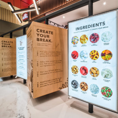 Newly designed kitkat chocolate store big screens with incredients