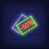 Two coupon slips as neon lights on dark blue background