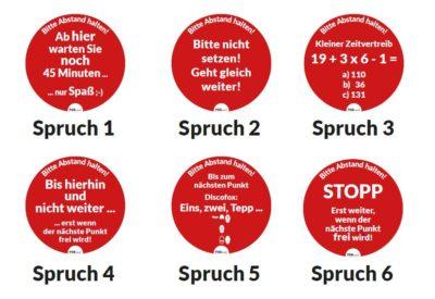 Verschiedene kreisförmige rote Aufkleber mit Sprüchen; copyright: POS Tuning