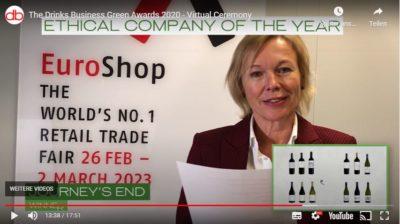 Frau im Video liest Gewinner vor; copyright: Screenshot The Drinks Business Green Awards