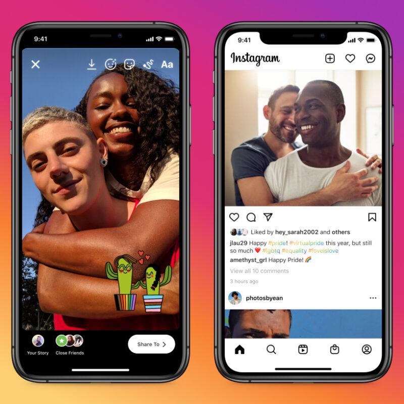 Zwei Smartphones mit Bildern und Postings auf Instagram zum Pride Month