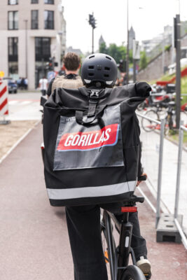 Gorillas rider with backpack from behind