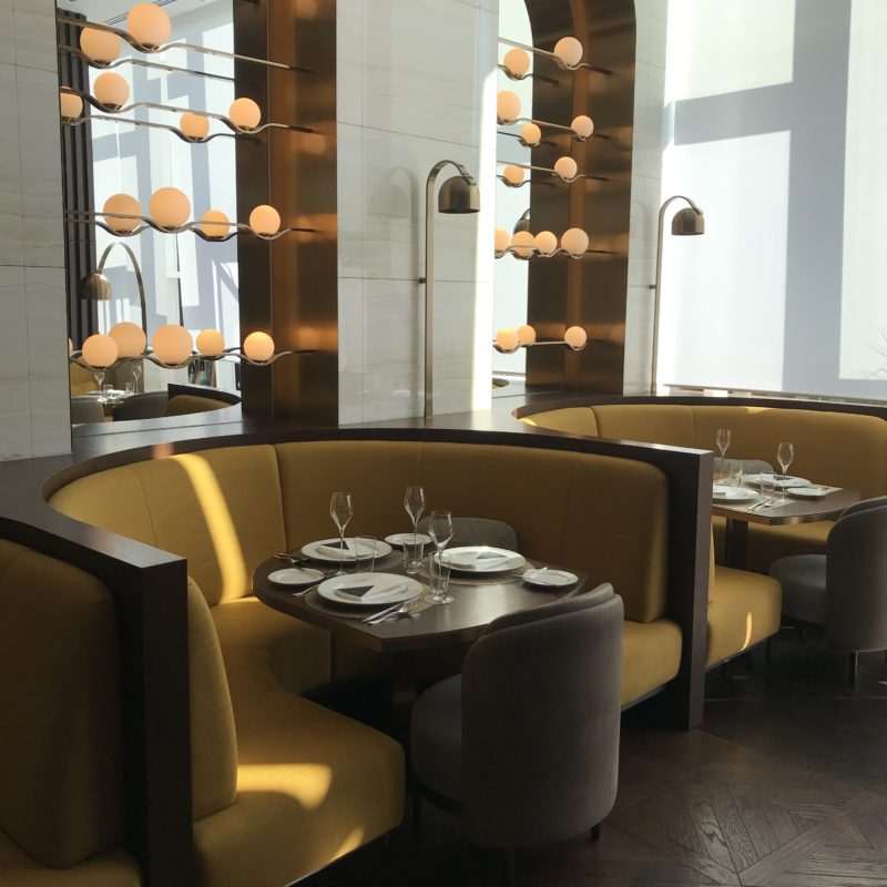 Seating in a modern restaurant