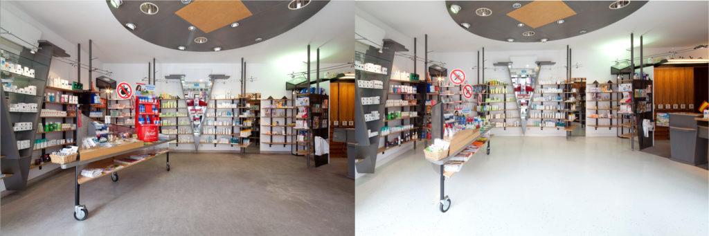 Vergleichsbilder einer Apotheke mit unterschiedlichen Fußböden; copyright: Dr. Schutz GmbH