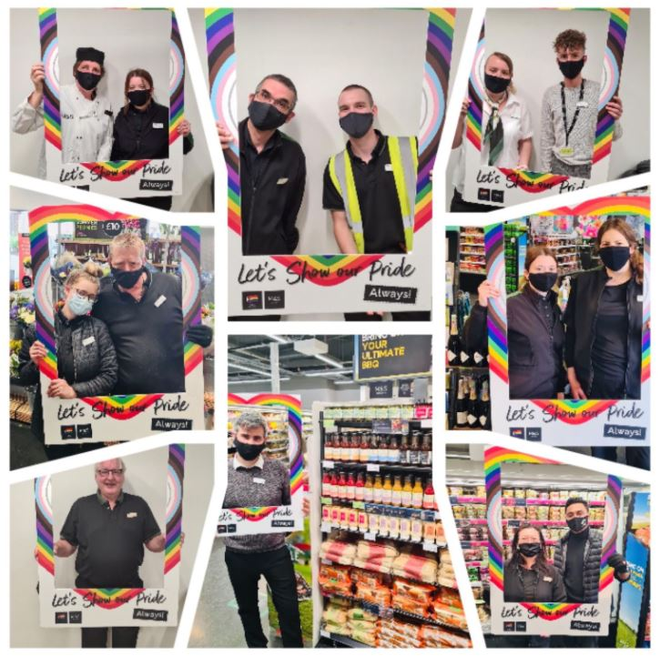 A LinkedIn post from Marks & Spencer featuring employee images for Pride Month with colorful decorations