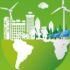 Screenshot Report: grüne Grafik mit Menschen, Erdkugel, Gebäuden und erneuerbaren Energietechnologien; copyright: LLamasoft Deutschland GmbH