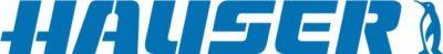 Logo der Firma Hauser, blauer Schriftzug und Pinguin
