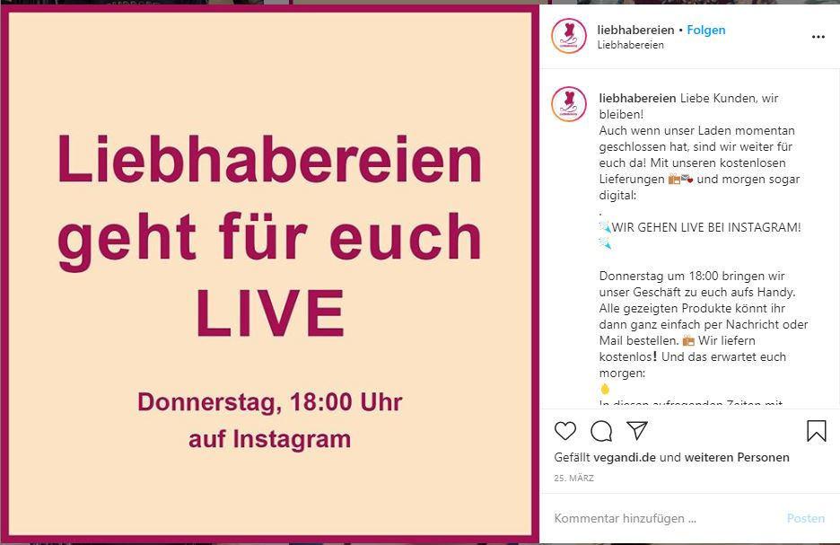 Screenshot of an announcement for a live event on Instagram