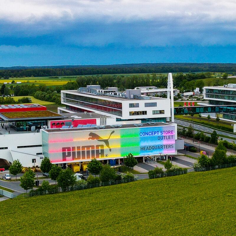 Puma's headquarters in Herzogenaurach illuminated in rainbow colors
