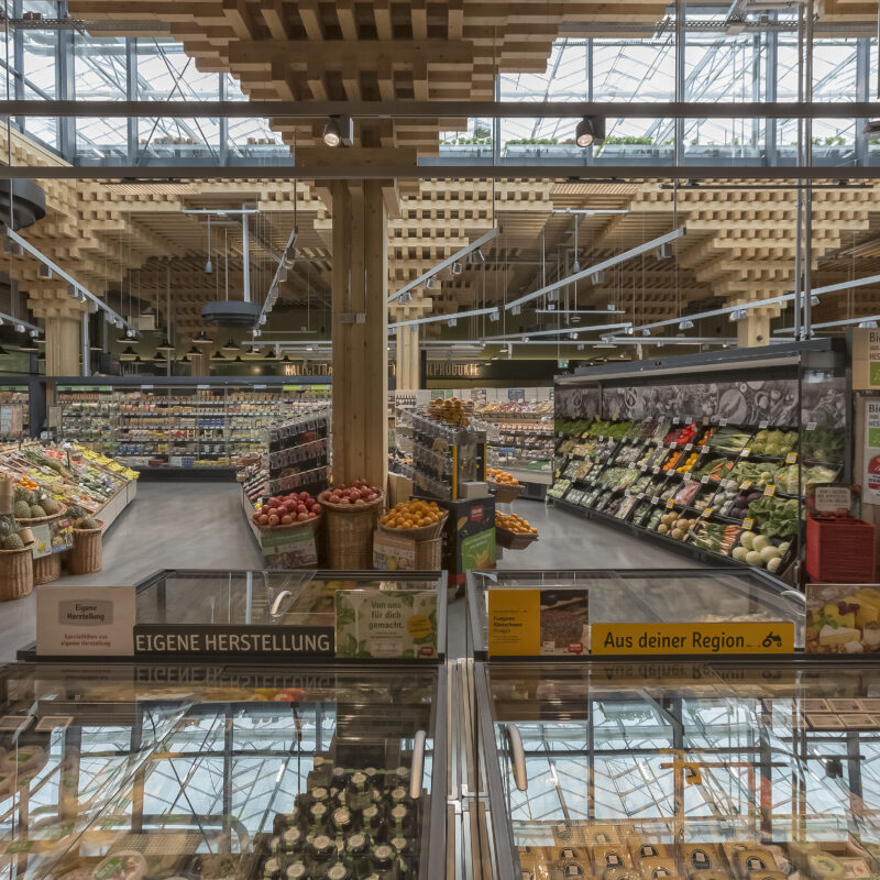 REWE Green Buildung store from the inside