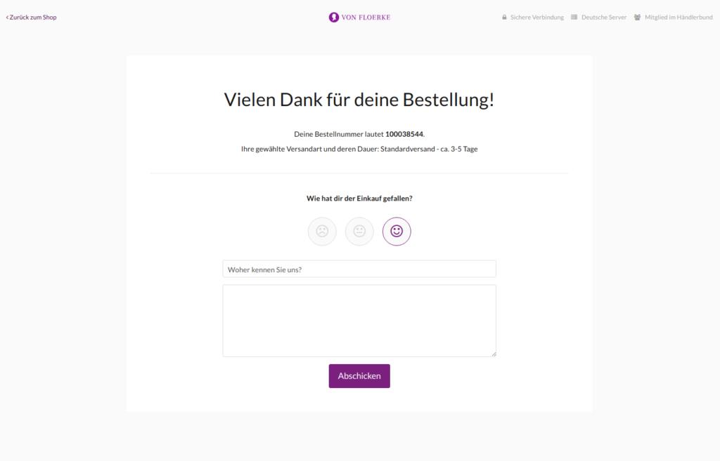 Bestätigunhsseite © Screenshot/www.vonfloerke.com