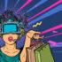 Zeichnung: Frau mit Einkaufstaschen und VR-Brile; copyright: PantherMedia / Valeriy Kachaev