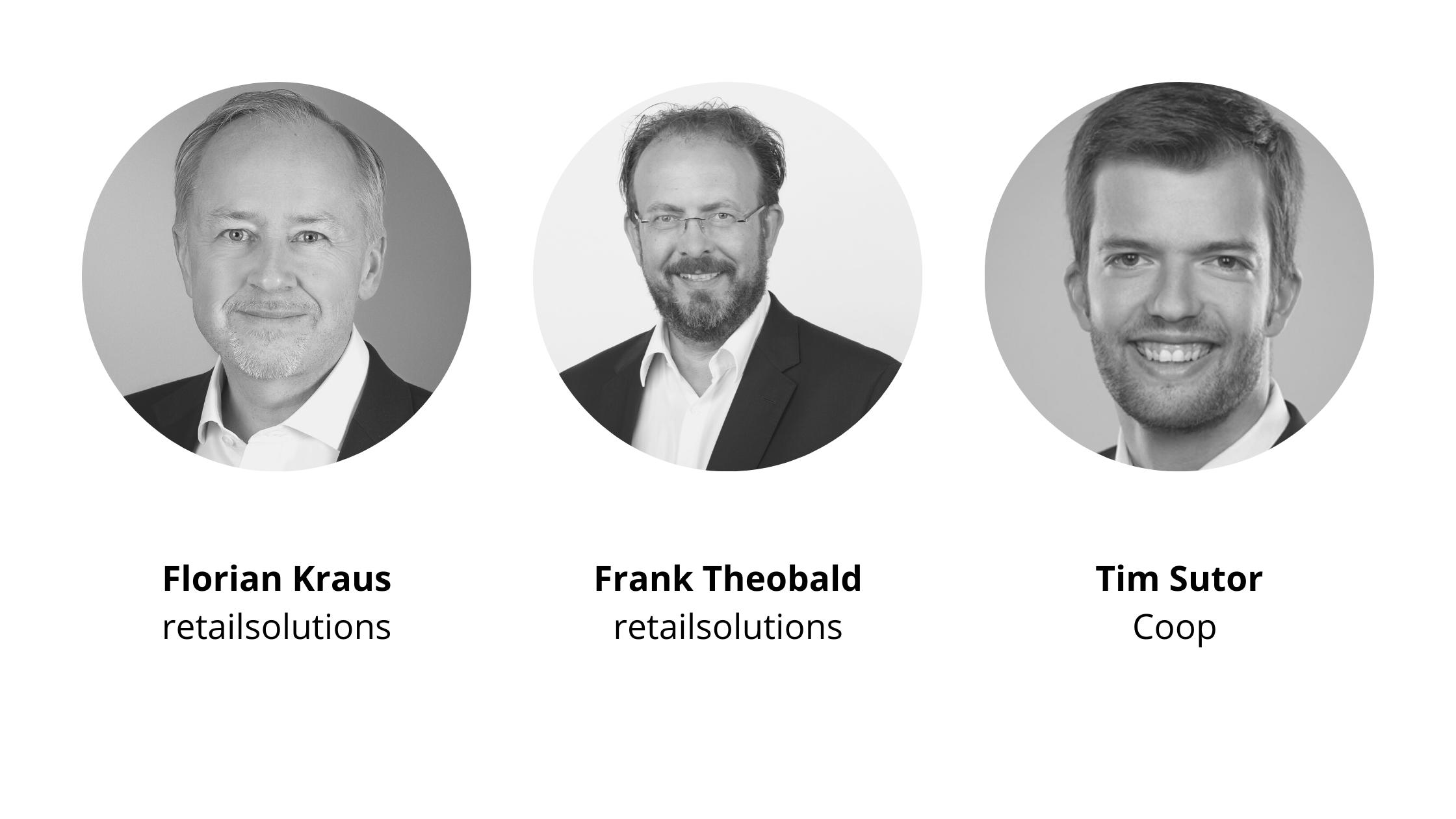 Florian Kraus (retailsolutions), Frank Theobald (retailsolutions) und Tim Sutor (Coop) sind die Speaker der retail salsa zum Thema Predictive Analytics im Einzelhandel.