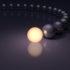 Leuchtende Kugel vor dunklen Kugeln; copyright: panthermedia.net / balein