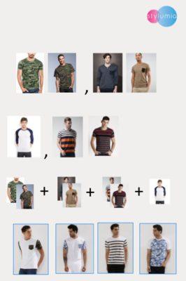 Übersicht mehrerer Shirts in verschiedenen Stilen; copyright: Screenshot Stylumia