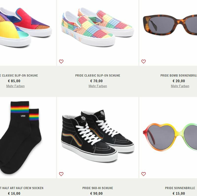 Screenshot of a webshop with products with rainbow colors