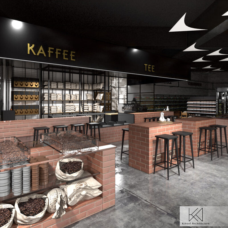 Coffee area in REWE; copyright: Kinzel Architecture