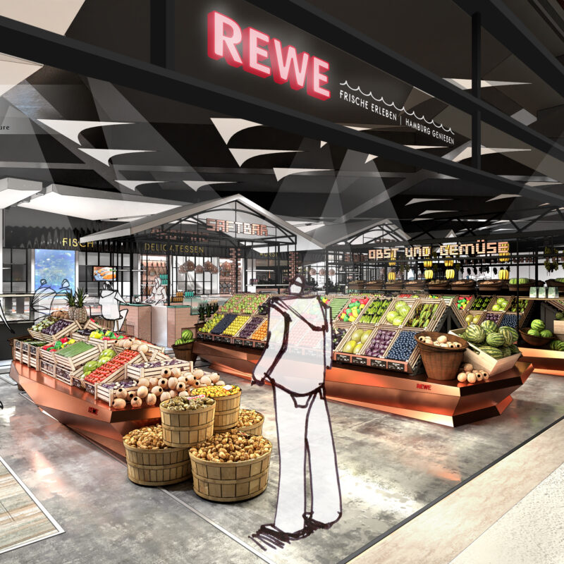 Entrance area REWE in the Übersee-Quartier; copyright: Kinzel Architecture