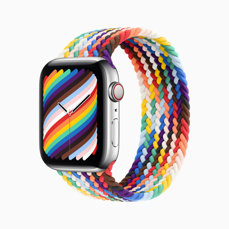 A colorful smartwatch with band and dial in rainbow colors