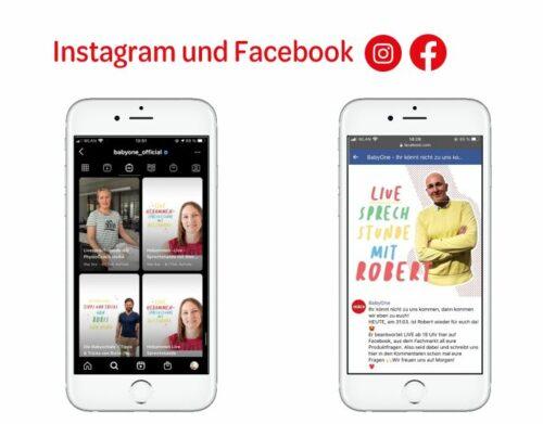 Zwei Mockups von Beratungsangeboten auf Smartphones, eines über instagram, eines über Facebook