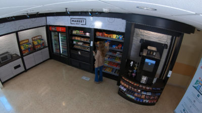 A small convenience store without cash register