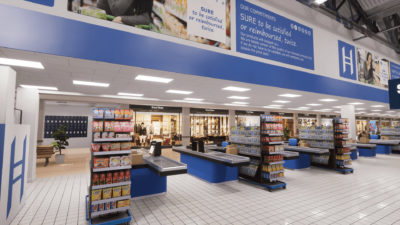 supermarket with checkout counters