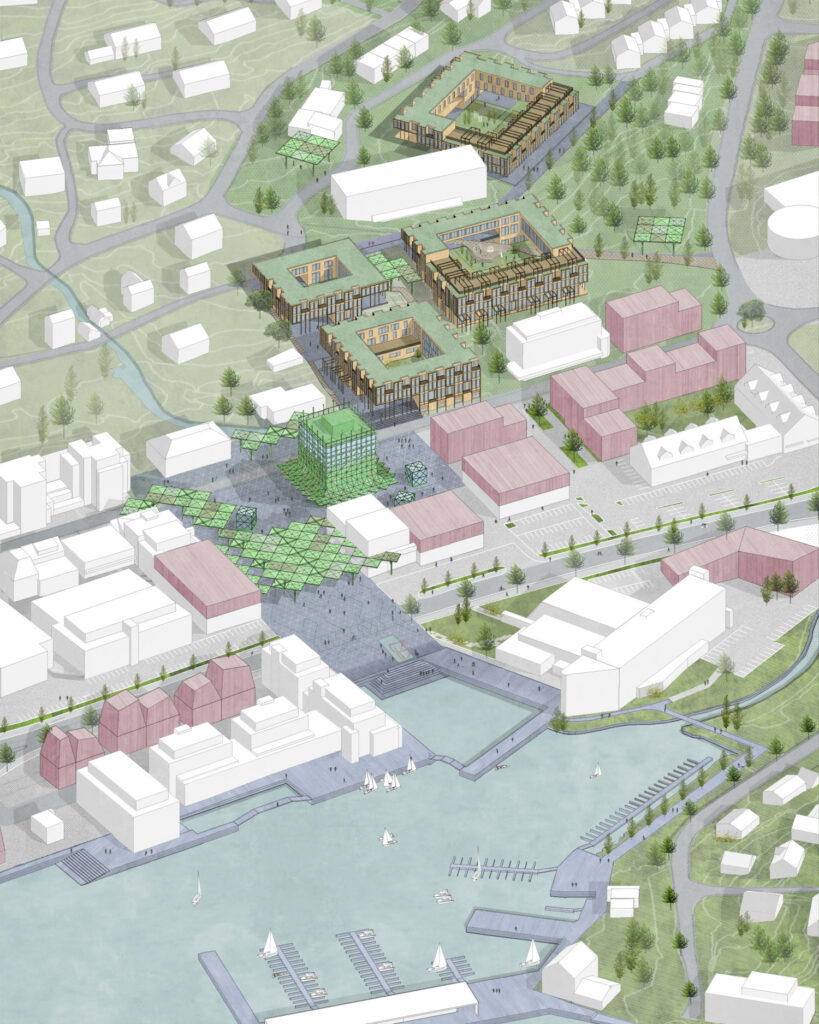 A graphic model of a town center with open spaces