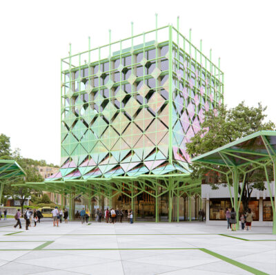 A modern open building at a Plaza in a town