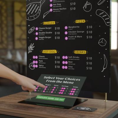 Ein holografisch projeziertes Restaurantmenü