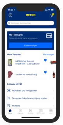 Screenshot der METRO App auf einem Smartphone